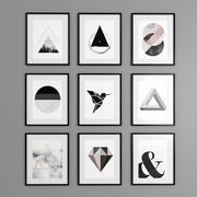 9 inramade grafik / bilder i svartvitt (1) 3d model