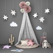 Conjunto decorativo para crianças com baldachin 3d model