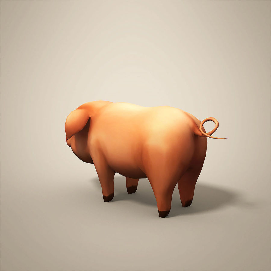 Cartoon Pig royalty-free 3d model - Preview no. 3