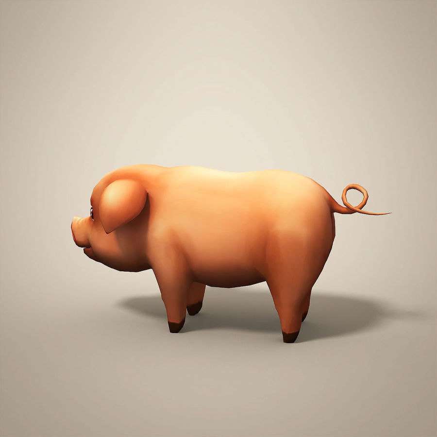 Cartoon Pig royalty-free 3d model - Preview no. 4