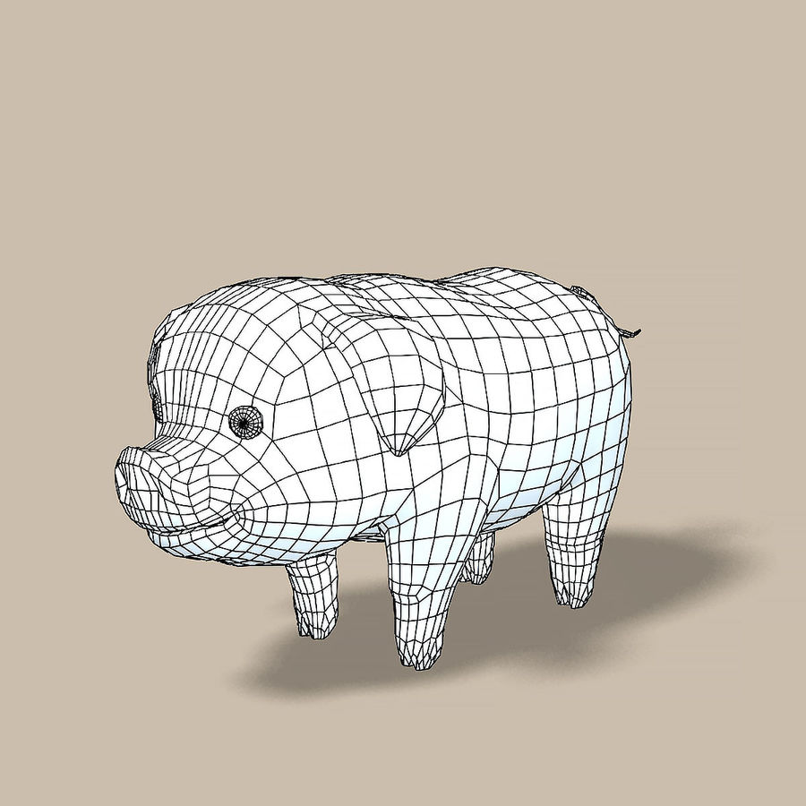 Cartoon Pig royalty-free 3d model - Preview no. 7