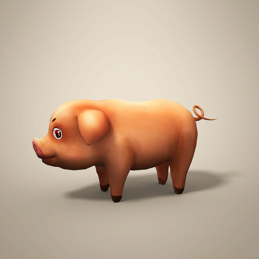 Cartoon Pig royalty-free 3d model - Preview no. 5