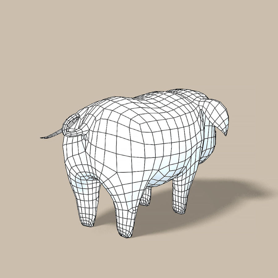 Cartoon Pig royalty-free 3d model - Preview no. 8