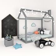 带有儿童配件的床屋 3d model