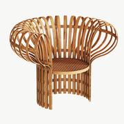 Fåtölj av böjd och vävd bambu, rotting 3d model