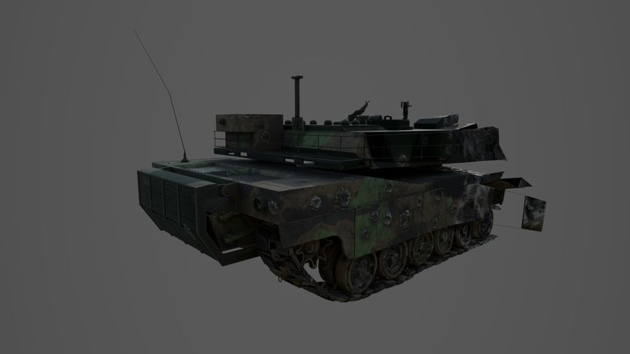 Tank Abrams vernietigd royalty-free 3d model - Preview no. 9