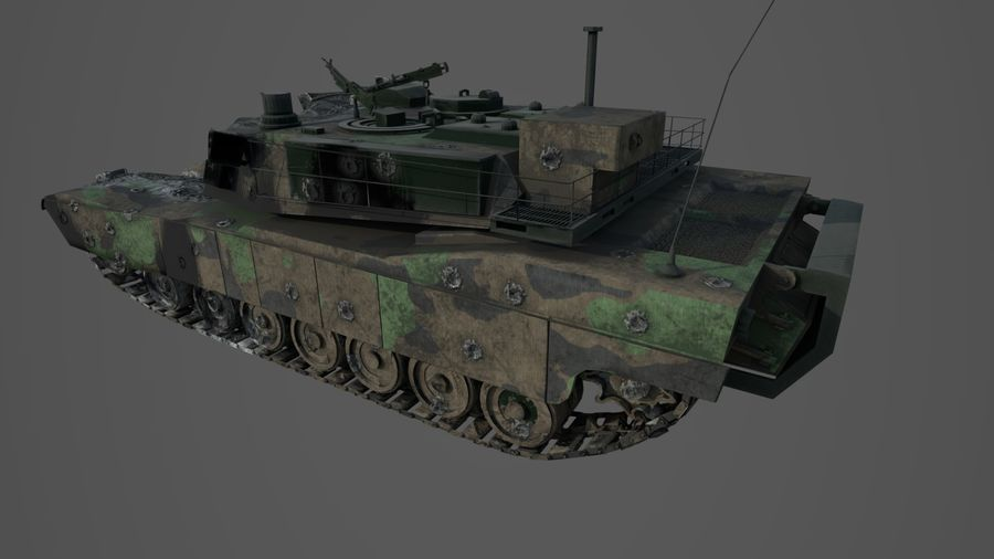 Tank Abrams vernietigd royalty-free 3d model - Preview no. 12