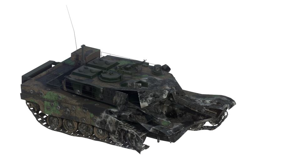 Tank Abrams vernietigd royalty-free 3d model - Preview no. 1