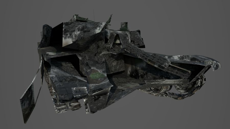 Tank Abrams vernietigd royalty-free 3d model - Preview no. 5