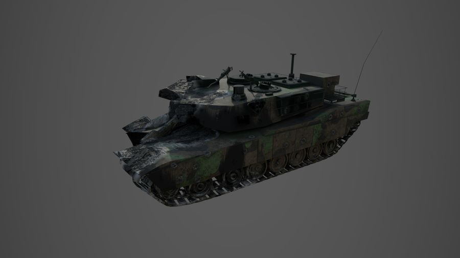 Tank Abrams vernietigd royalty-free 3d model - Preview no. 2