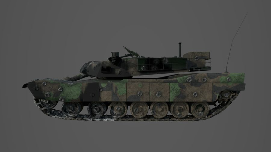 Tank Abrams vernietigd royalty-free 3d model - Preview no. 7
