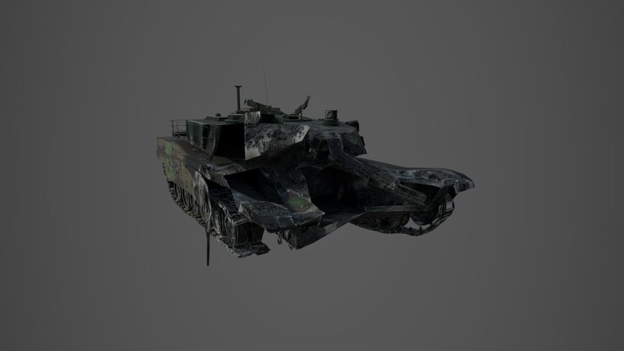 Tank Abrams vernietigd royalty-free 3d model - Preview no. 3