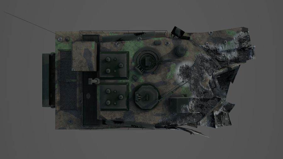 Tank Abrams vernietigd royalty-free 3d model - Preview no. 11