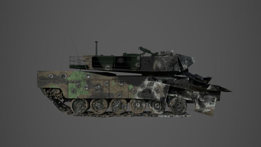 Tank Abrams vernietigd royalty-free 3d model - Preview no. 4