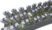 wieża mieszkalna z krajobrazem 3d model