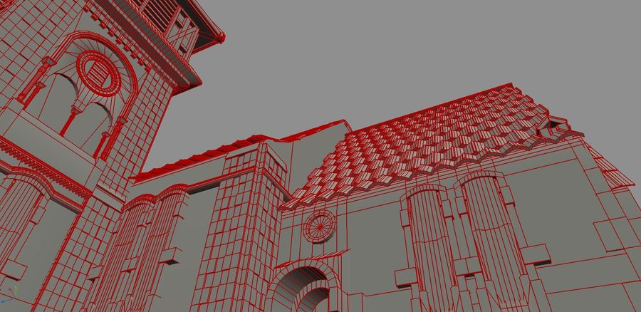 Iglesia vieja (juego listo) royalty-free modelo 3d - Preview no. 6
