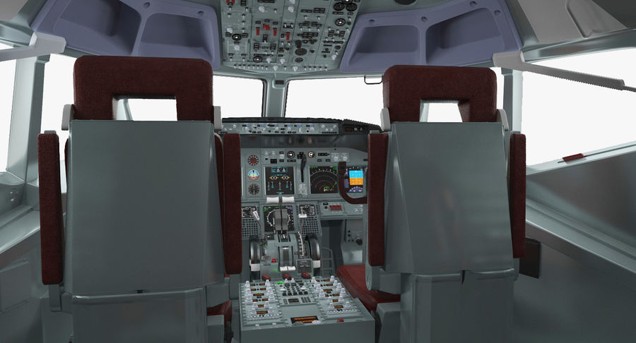Cockpit d'avion de passagers royalty-free 3d model - Preview no. 5