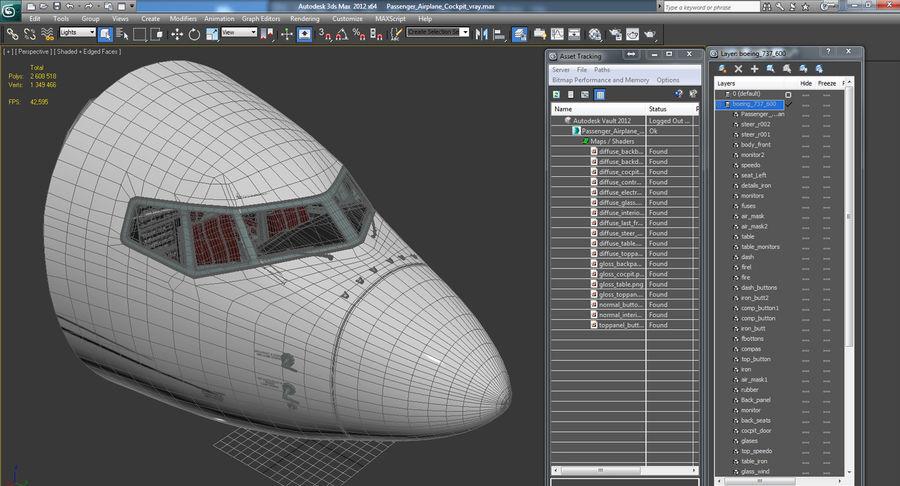 Cockpit d'avion de passagers royalty-free 3d model - Preview no. 15