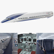Wnętrze samolotu pasażerskiego 3d model