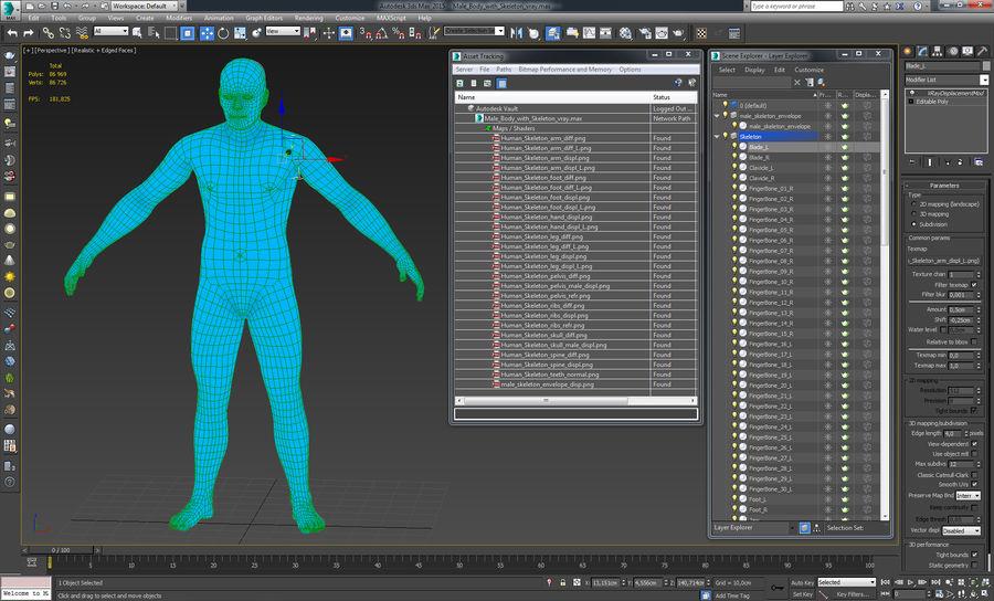 Męskie ciało ze szkieletem royalty-free 3d model - Preview no. 20
