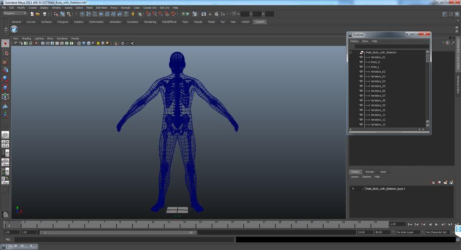 Męskie ciało ze szkieletem royalty-free 3d model - Preview no. 19