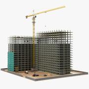 Hochbau mit Ausrüstung 3d model