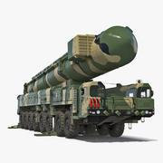 Transporter Erector Launcher met RT-2PM Topol-M ballistische raket opgetuigd 3D-model 3d model