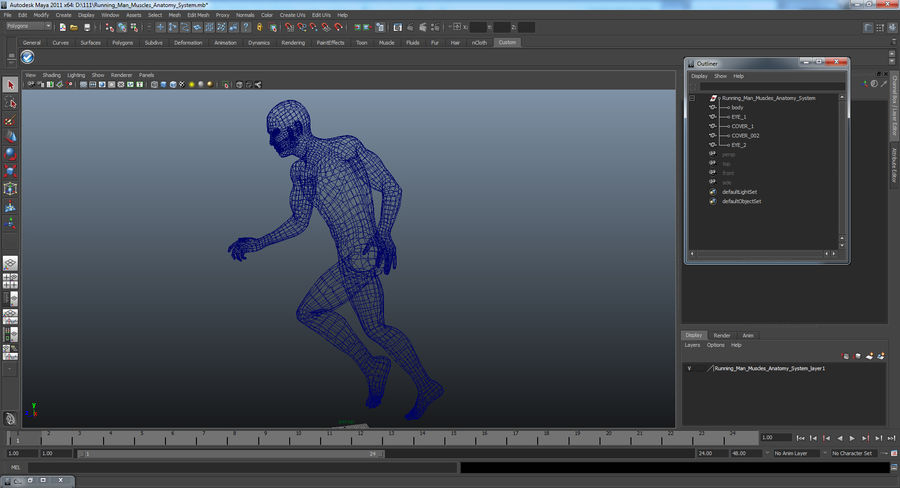 Running Man Muscles Anatomy System royalty-free 3d model - Preview no. 16