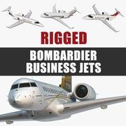 Коллекция Rigged Bombardier Business Jets 3d model