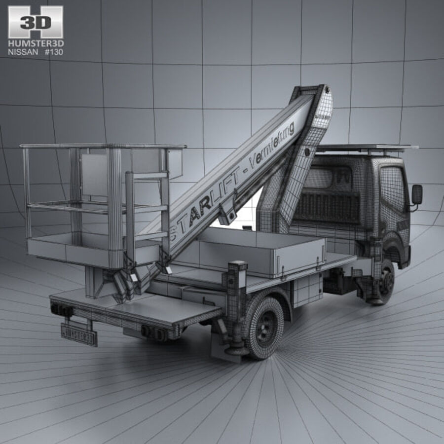 Nissan Cabstar Lift Platform Truck 2006 royalty-free 3d model - Preview no. 4