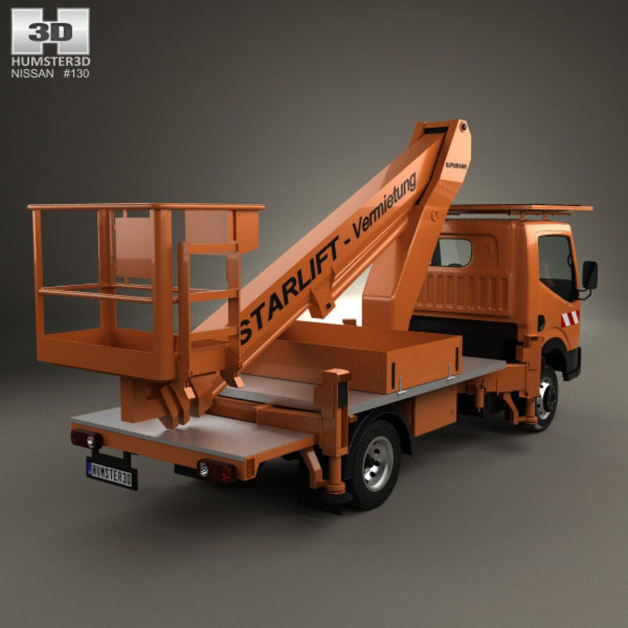 Nissan Cabstar Lift Platform Truck 2006 royalty-free 3d model - Preview no. 2