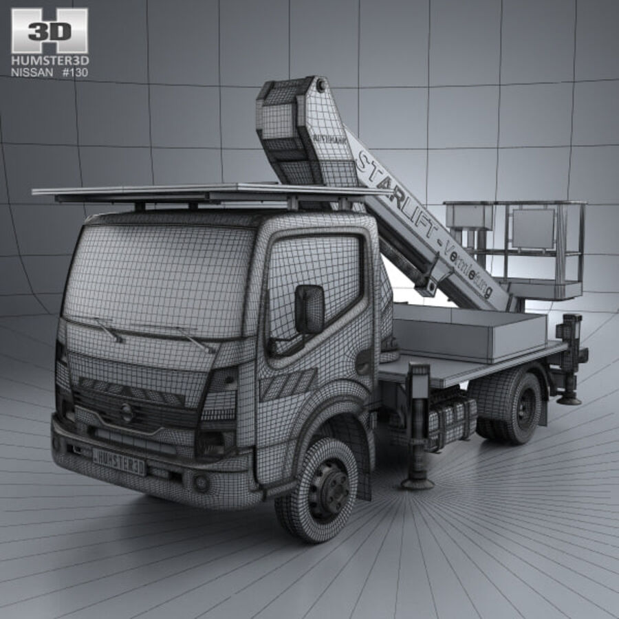 Nissan Cabstar Lift Platform Truck 2006 royalty-free 3d model - Preview no. 3