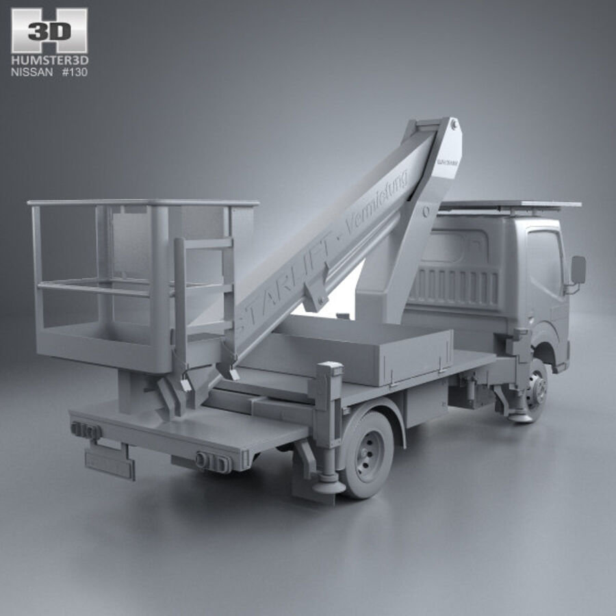 Nissan Cabstar Lift Platform Truck 2006 royalty-free 3d model - Preview no. 12