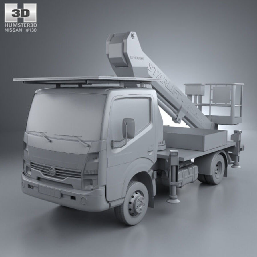 Nissan Cabstar Lift Platform Truck 2006 royalty-free 3d model - Preview no. 11