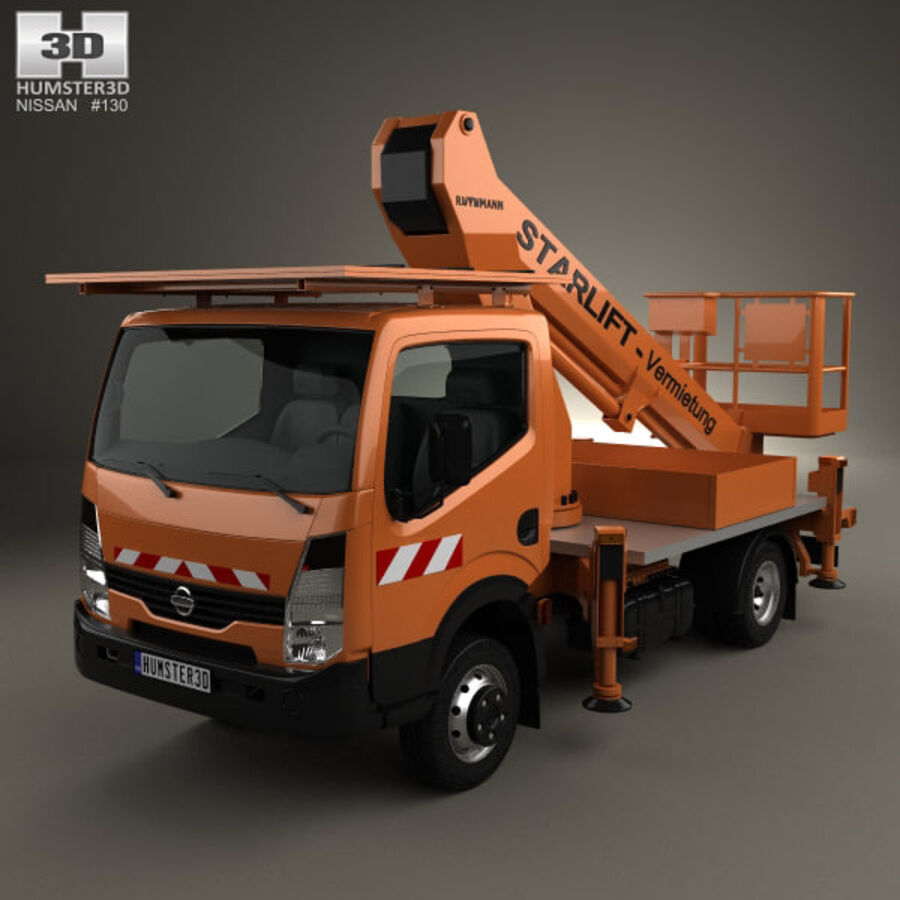 Nissan Cabstar Lift Platform Truck 2006 royalty-free 3d model - Preview no. 1