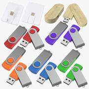 Promosyon USB Stick Mockups Koleksiyonu 3d model