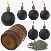Bombs Gunpowder Keg Powder Collection 3d model