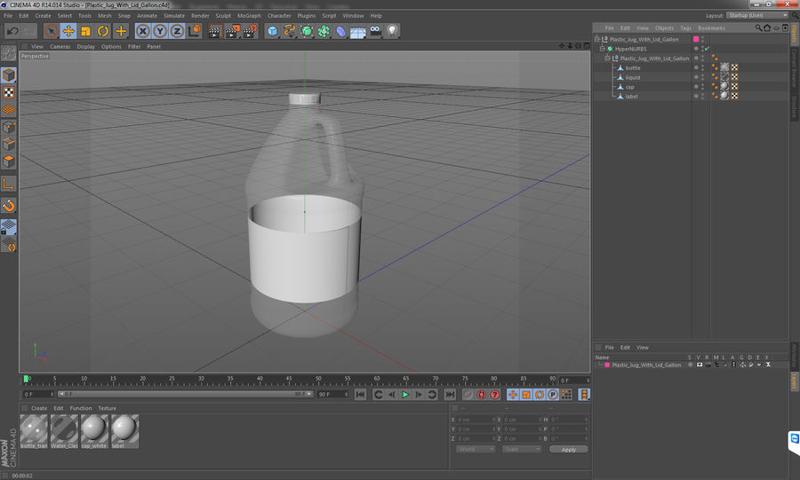 Plastic Jug With Lid Gallon royalty-free 3d model - Preview no. 14