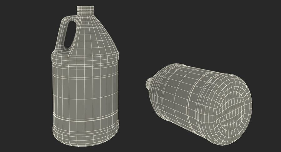 Plastic Jug With Lid Gallon royalty-free 3d model - Preview no. 17