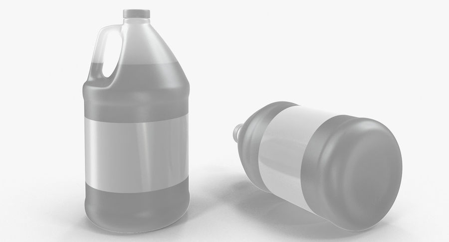 Plastic Jug With Lid Gallon royalty-free 3d model - Preview no. 3