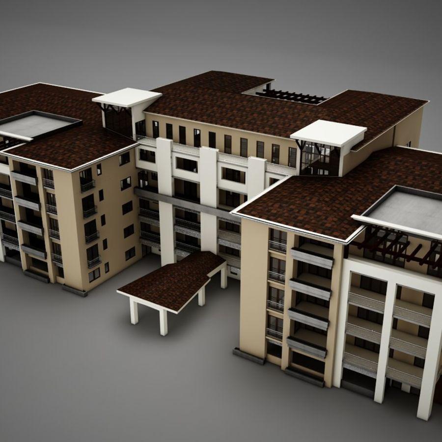 Nowoczesna tropikalna łacińska meksykańska plaża Tower Hotel Hacienda royalty-free 3d model - Preview no. 1