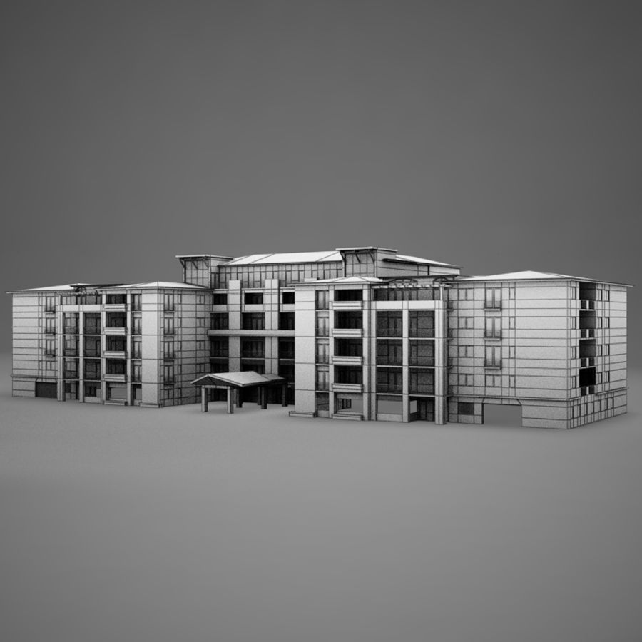Modern Tropical Latin Mexican Beach Tower Hotel Hacienda royalty-free 3d model - Preview no. 11