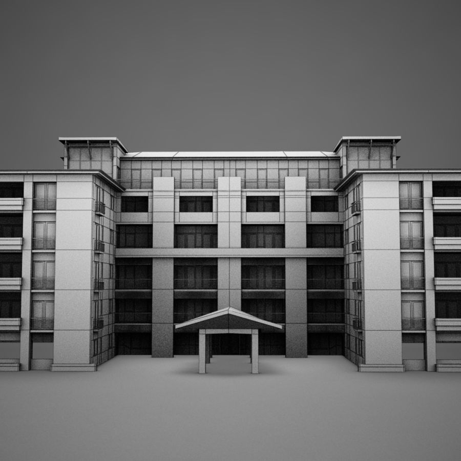 Modern Tropical Latin Mexican Beach Tower Hotel Hacienda royalty-free 3d model - Preview no. 17