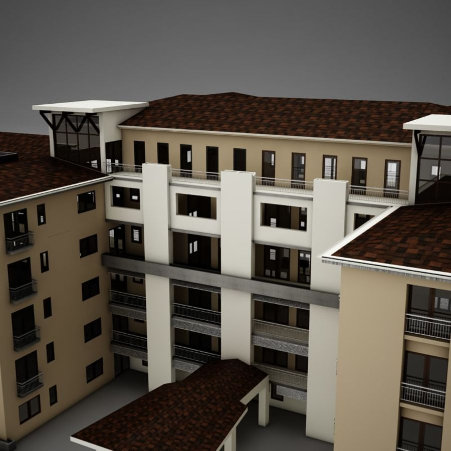 Nowoczesna tropikalna łacińska meksykańska plaża Tower Hotel Hacienda royalty-free 3d model - Preview no. 4