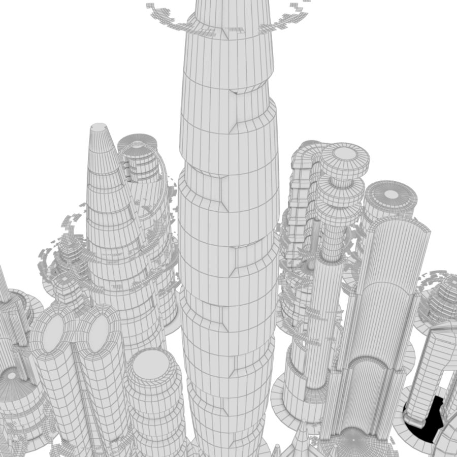 SciFi City royalty-free 3d model - Preview no. 9