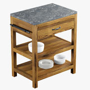 Crate and Barrel Bluestone Reclaimed Kitchen Island 3D Model 3d model