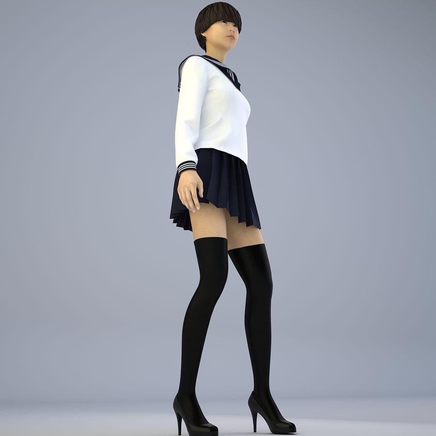 Japans meisje in schooluniform royalty-free 3d model - Preview no. 6