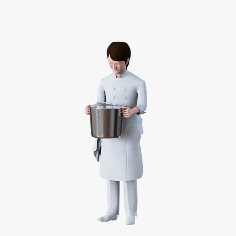 Worker 03(Cook) royalty-free 3d model - Preview no. 13