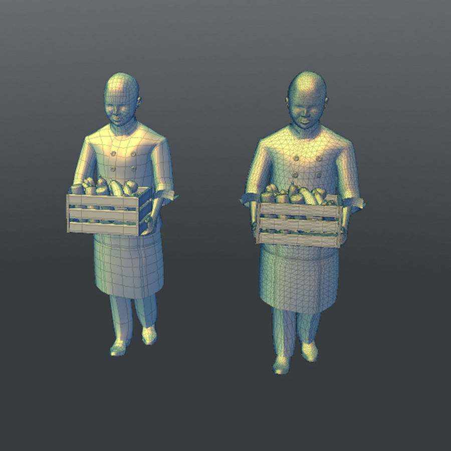 Worker 03(Cook) royalty-free 3d model - Preview no. 17