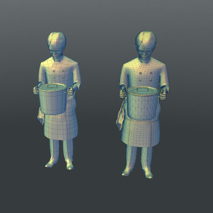 Worker 03(Cook) royalty-free 3d model - Preview no. 21